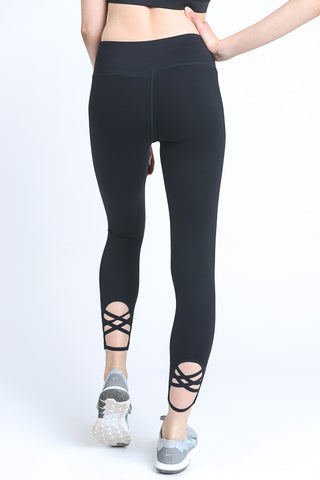 Black Criss Cross Workout Pants