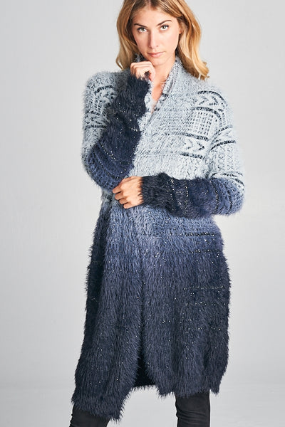 Navy Charcoal Ombre Sparkle Sweater