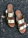 Rebels Gold Two-Strap Sandal