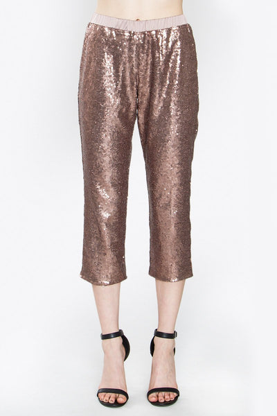 rose gold, sequins, sequins pants, glitter, for the holidays