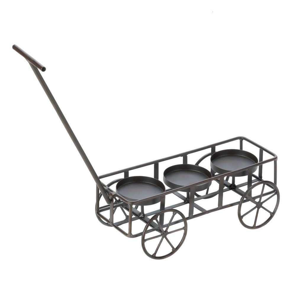 Iron Wagon Candle Holder