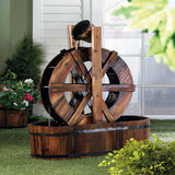 Wood Wagon Wheel Outdoor Garden Fountain