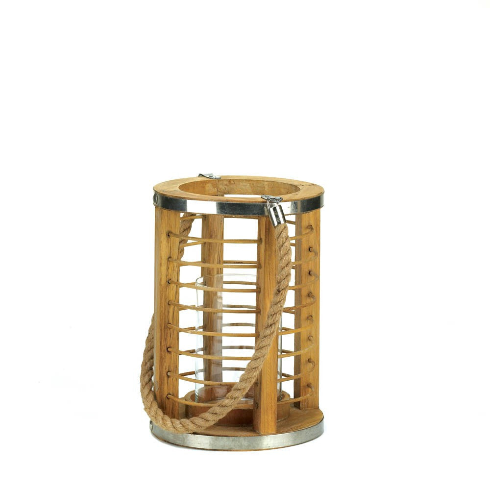 Strand Wooden Candle Lantern