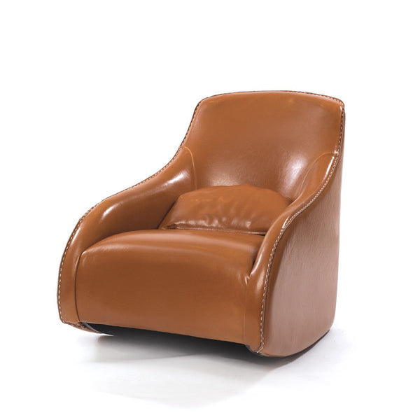 Contemporary Brown Leather Chair - Urbanily Lifestyle Goods