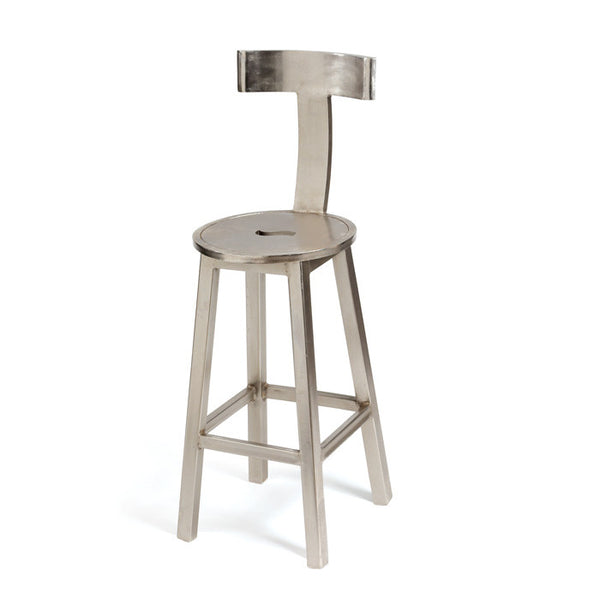 Steel Finish Bar Stool - Tall - Modern Industrial & Eclectic Vintage Furniture & Decor by Urbanily - Stool