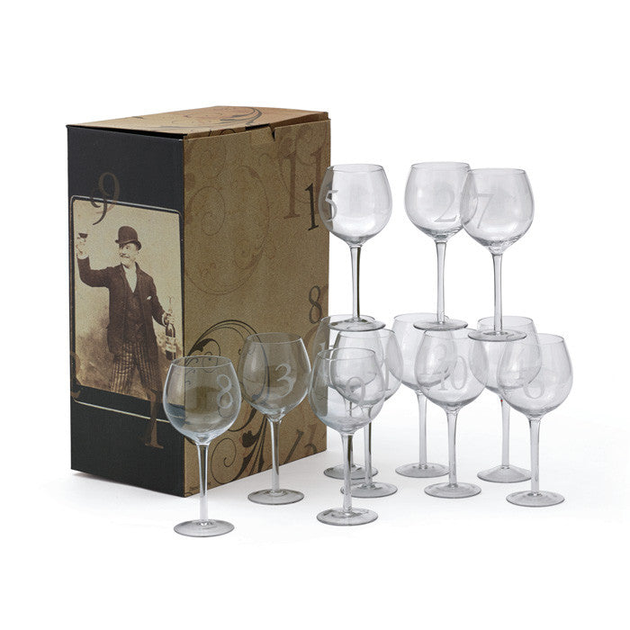 Numerology Wine Glasses - Set of Twelve - Modern Industrial & Eclectic Vintage Furniture & Decor by Urbanily - Wine Glasses - 1
