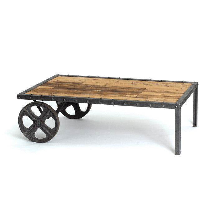 Reclaimed Wood Transfer Cart - Modern Industrial & Eclectic Vintage Furniture & Decor by Urbanily - Coffee Table