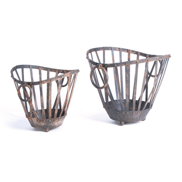 Vintage Market Baskets - Set of Two - Modern Industrial & Eclectic Vintage Furniture & Decor by Urbanily - Basket