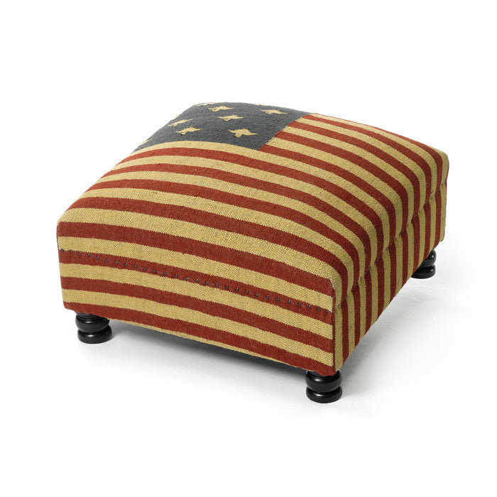 Patriotic Bench Ottoman - Modern Industrial & Eclectic Vintage Furniture & Decor by Urbanily - Pouf