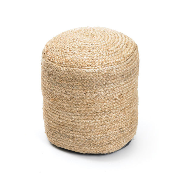 Round Braided Hemp Pouf - Modern Industrial & Eclectic Vintage Furniture & Decor by Urbanily - Pouf