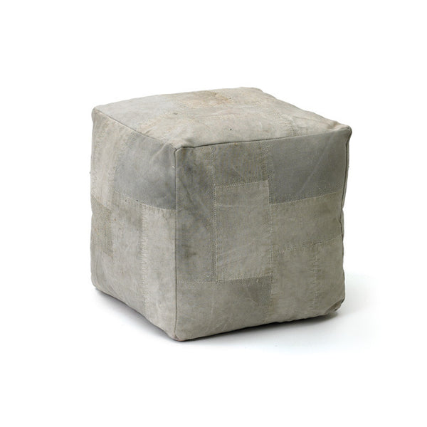Salvaged Canvas Pouf - Modern Industrial & Eclectic Vintage Furniture & Decor by Urbanily - Pouf