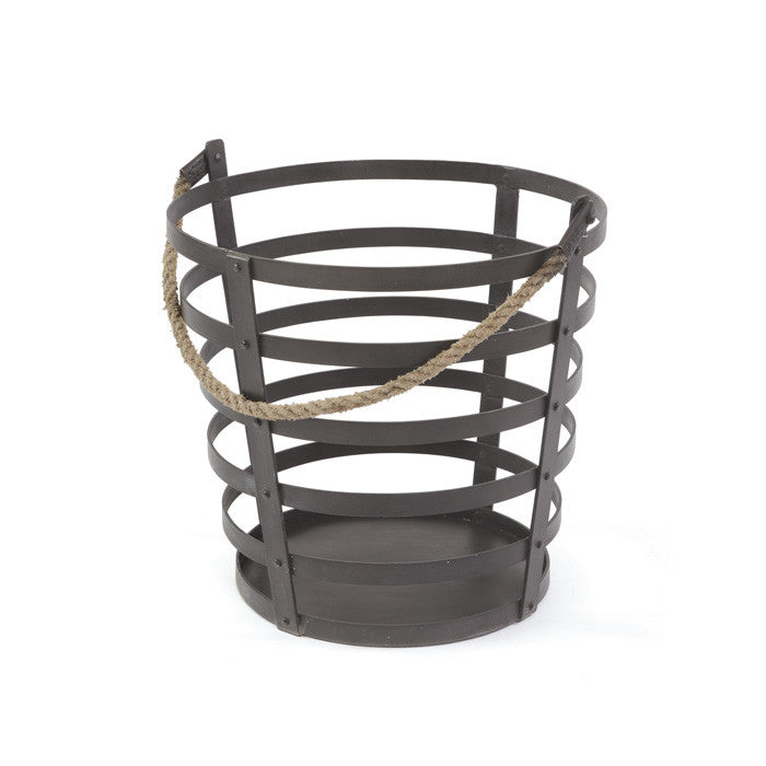 Iron and Rope Basket - Modern Industrial & Eclectic Vintage Furniture & Decor by Urbanily - Basket