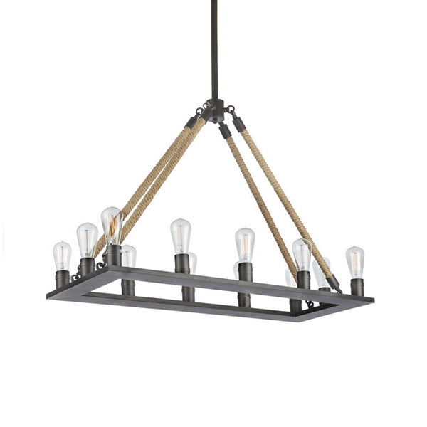 Iron and Rope Chandelier - Modern Industrial & Eclectic Vintage Furniture & Decor by Urbanily - Ceiling Light