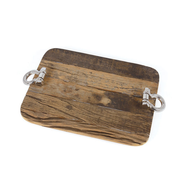 Rustic Wood and Nickel Tray - Modern Industrial & Eclectic Vintage Furniture & Decor by Urbanily - Tray
