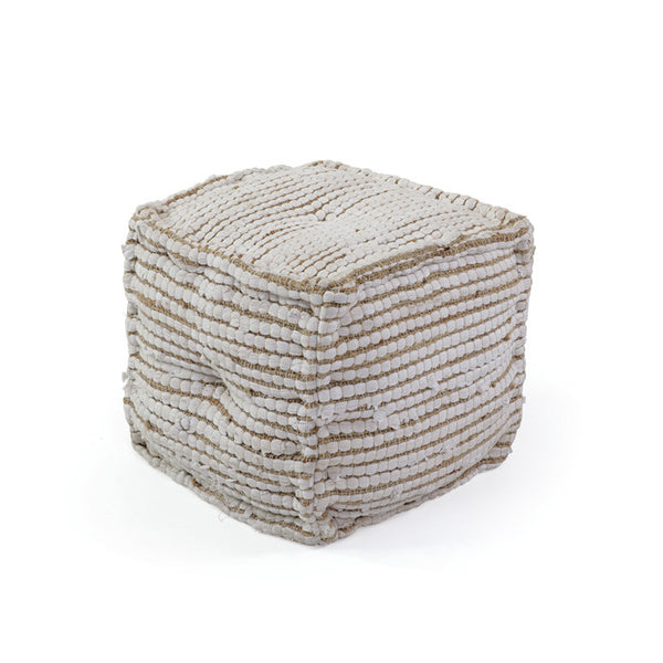 Cotton Hemp Pouf - Modern Industrial & Eclectic Vintage Furniture & Decor by Urbanily - Pouf