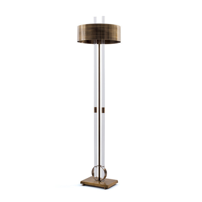 Brass and Acrylic Floor Lamp - Modern Industrial & Eclectic Vintage Furniture & Decor by Urbanily - Floor Lamp
