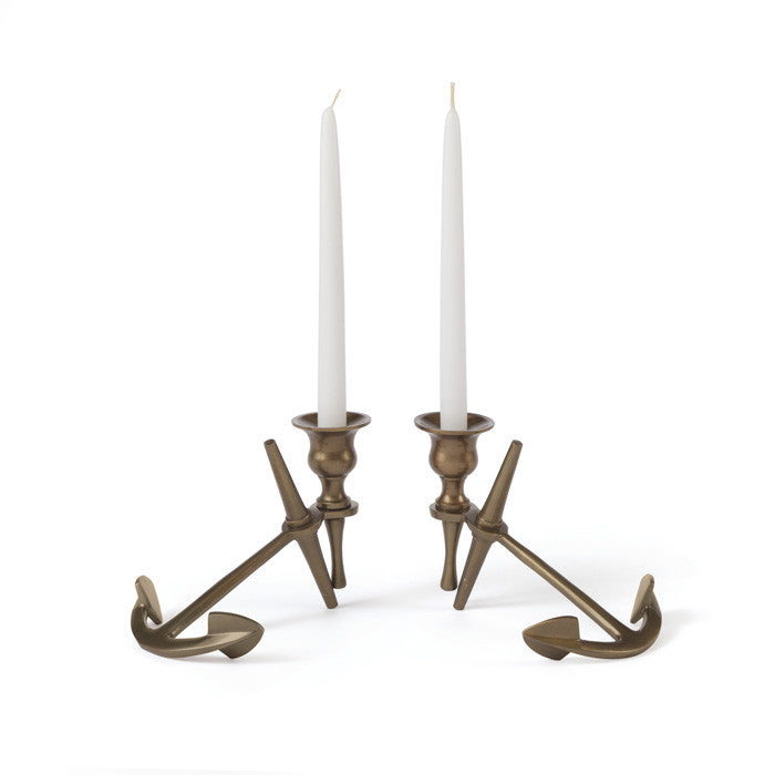 Brass Anchor Candlesticks - Modern Industrial & Eclectic Vintage Furniture & Decor by Urbanily - Candle Holder