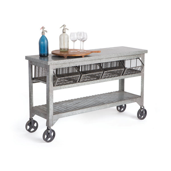 Galvanized Metal Console - Modern Industrial & Eclectic Vintage Furniture & Decor by Urbanily - Console Table - 1