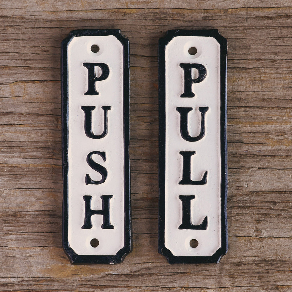 Cast Iron Metal Signs - Push and Pull - Urbanily Lifestyle Goods