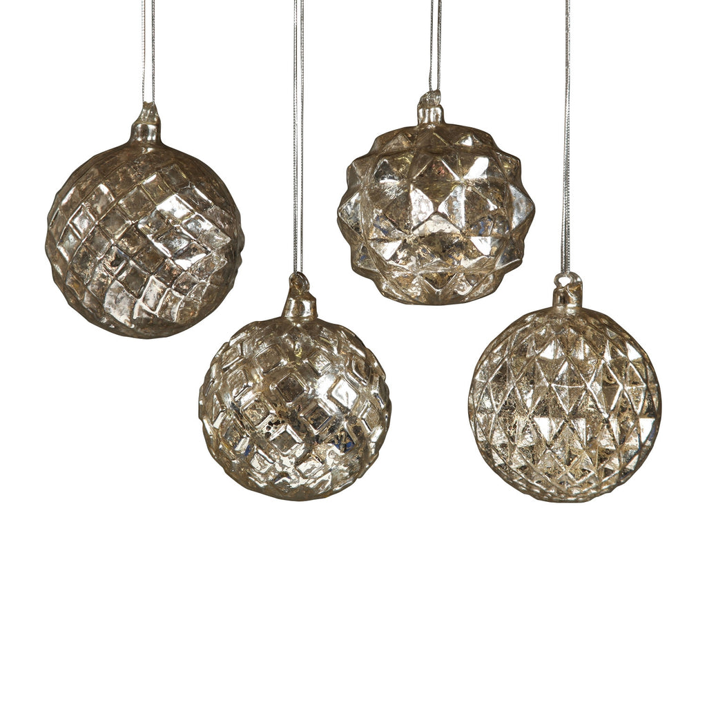 Facted Sphere Glass Ornaments - Set of Four