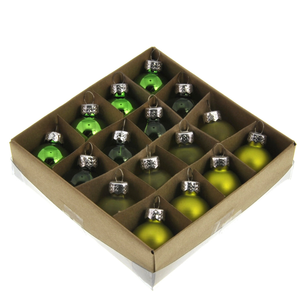 Teeny Tiny Glass Ornaments - Green - Set of 32