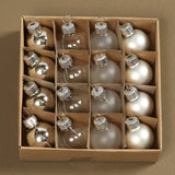 Teeny Tiny Glass Ornaments - Silver - Set of 32