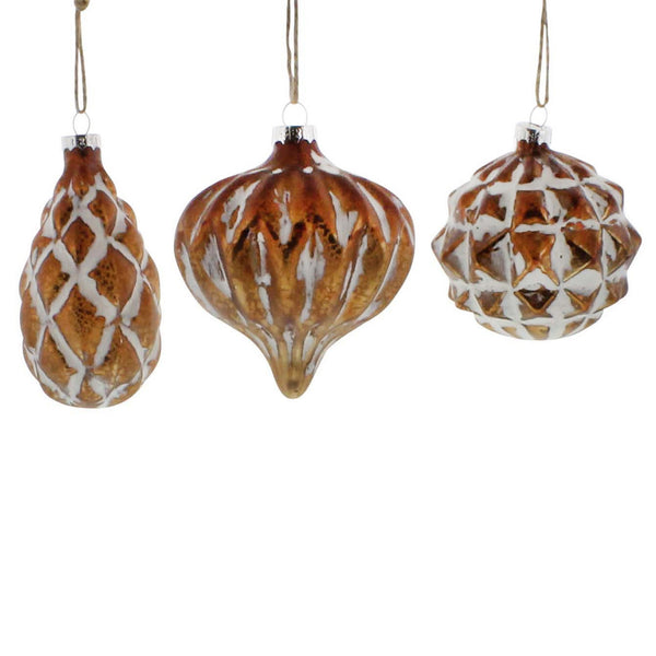 Genevieve Glass Ornaments - Set of Three in Copper and White - Urbanily Lifestyle Goods