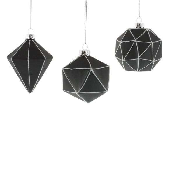 Quadrilateral Glass Ornaments - Set of Three
