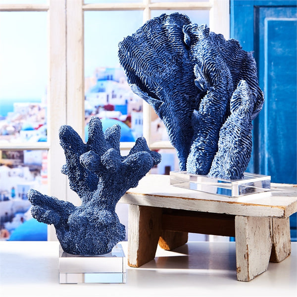 Blue Coral Scupltures with Base - Set of Two - Urbanily Lifestyle Goods