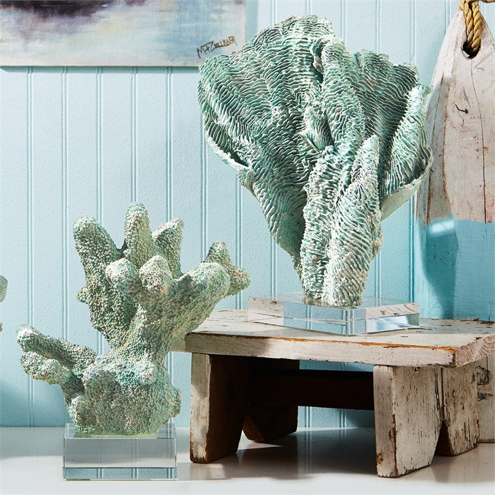 Green Coral Scupltures with Base - Set of Two - Urbanily Lifestyle Goods