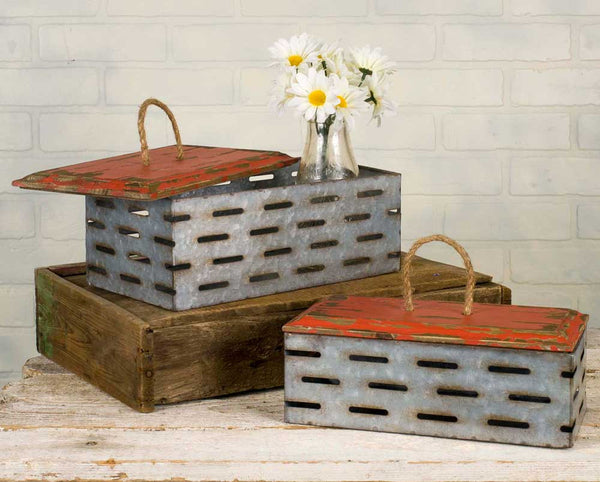 Perforated Bins with Wood Lids