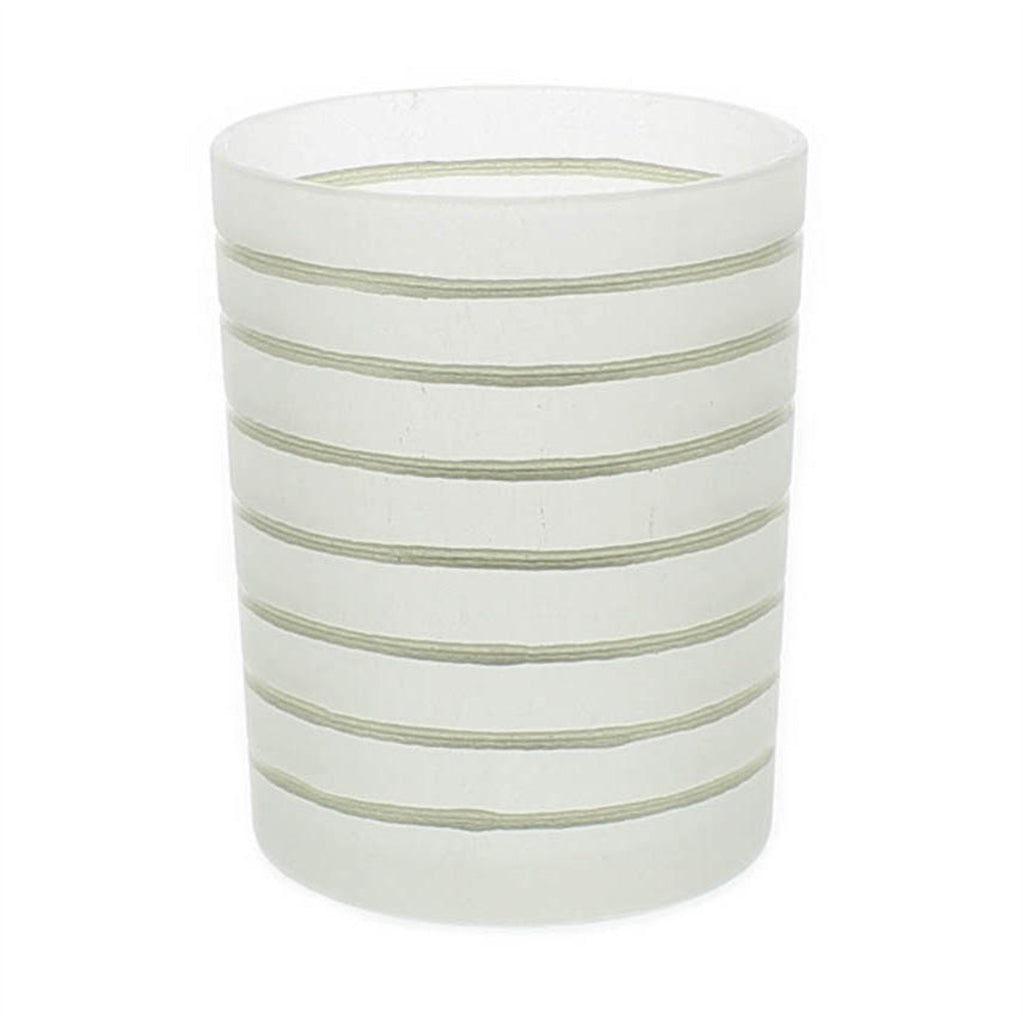 Frosted Glass Gold Stripe Hurricane - Medium