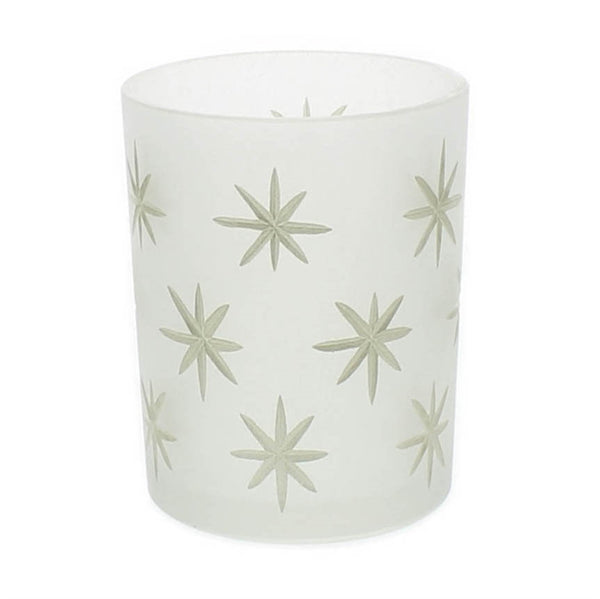 Frosted Glass Gold Star Hurricane - Medium - Urbanily Lifestyle Goods