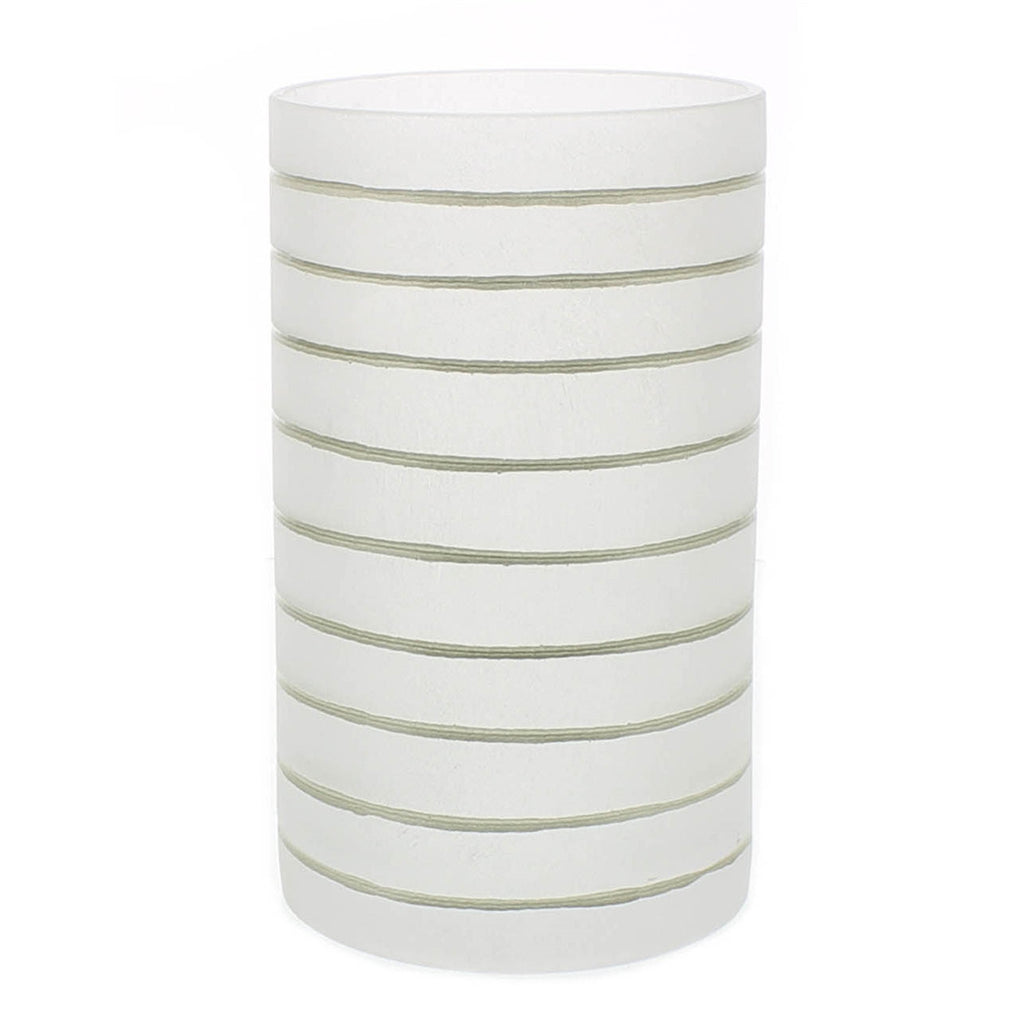 Frosted Glass Gold Stripe Hurricane - Large - Urbanily Lifestyle Goods