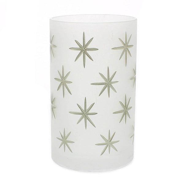 Frosted Glass Gold Star Hurricane - Large - Urbanily Lifestyle Goods
