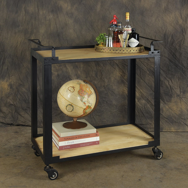 Wood and Black Iron Bar Trolley - Modern Industrial & Eclectic Vintage Furniture & Decor by Urbanily - Bar Cart