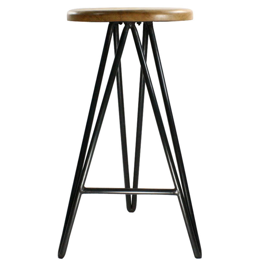 Copy of Wood and Iron Stool - Large - Modern Industrial & Eclectic Vintage Furniture & Decor by Urbanily - Stool - 1