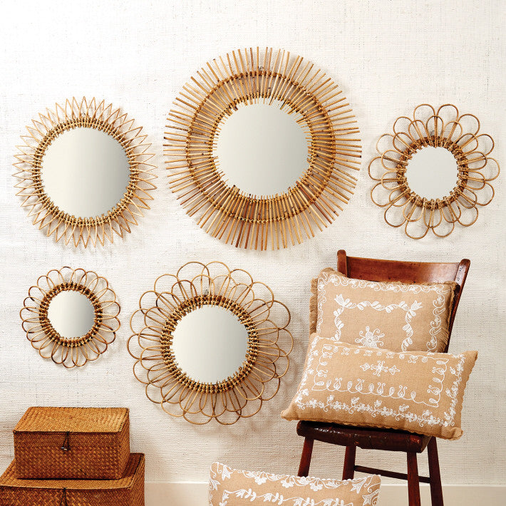 Natural Rattan Mirrors - Set of 5