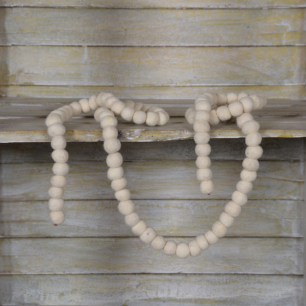 Creamy White Felt Ball Garland