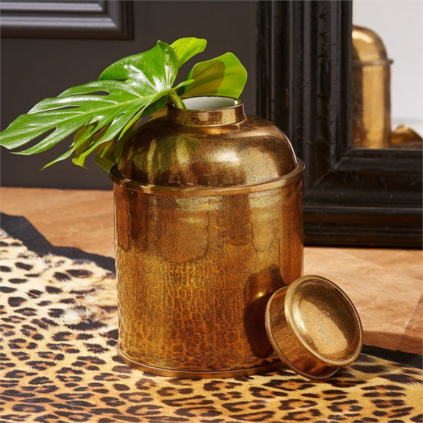 Golden Shagreen Glazed Tea Canister With LId - Urbanily Lifestyle Goods