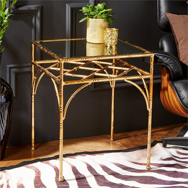 Gold Leaf Glass Tables - Set of 2 - Urbanily Lifestyle Goods