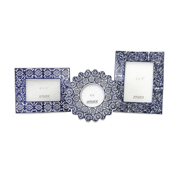 Blue and White Ceramic Frames - Set of 3 - Urbanily Lifestyle Goods