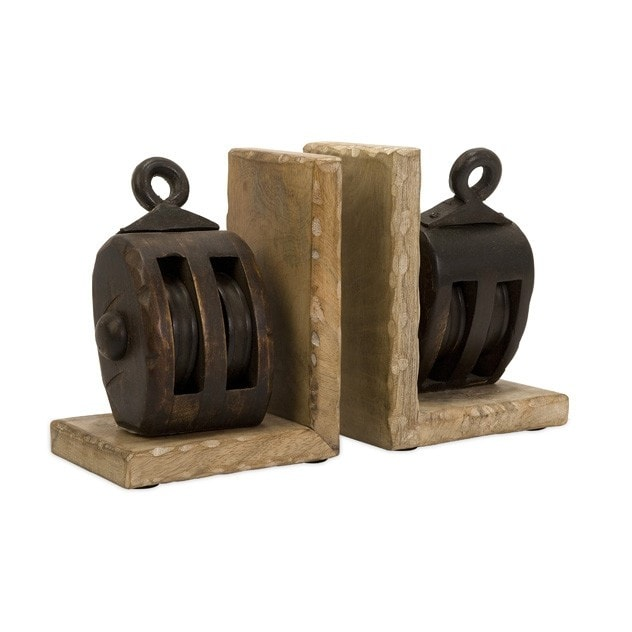 Wood Pulley Bookends