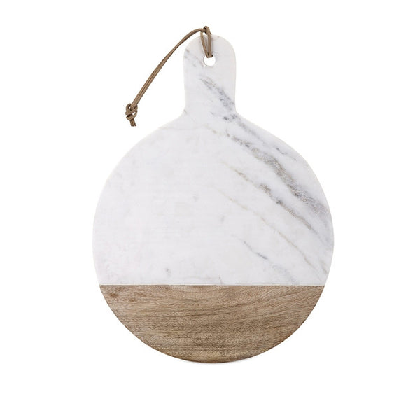 Marble and Wood Cheese Board Round