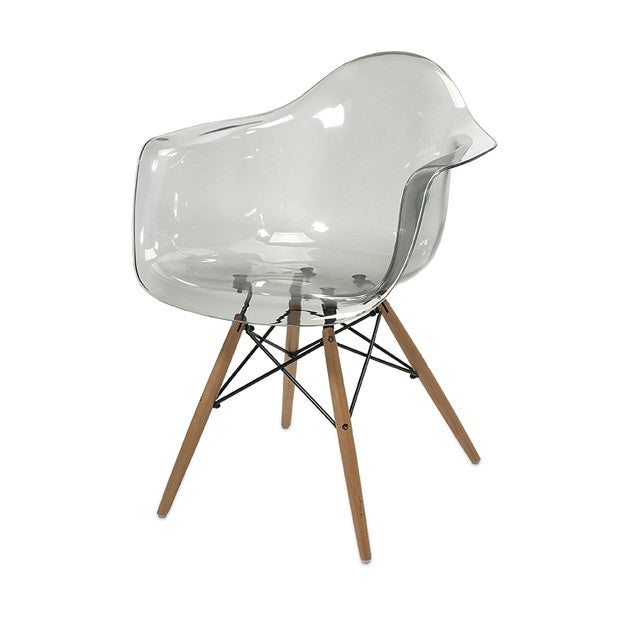 Transparent Chair with Wood Legs - Set of Two