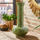 Long Neck Green Shagreen Vase