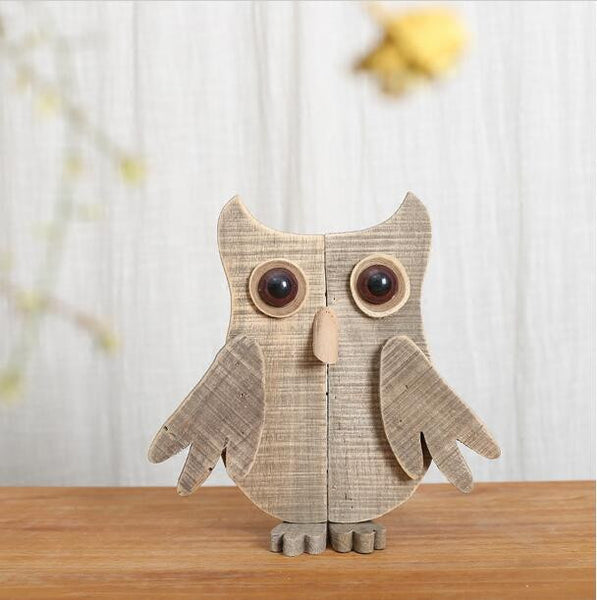 Abstract Wood Owl Figurine