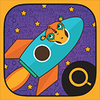 This is the app icon for the Explorer Box, showing Manu the Meerkat flying on a space ship.