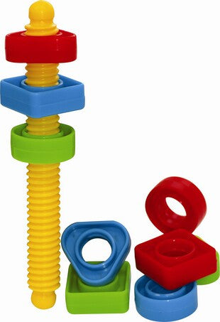 GOWI Large Coloured Shaped Nuts to thread onto a large bolt.  Great for starting fine motor skill development