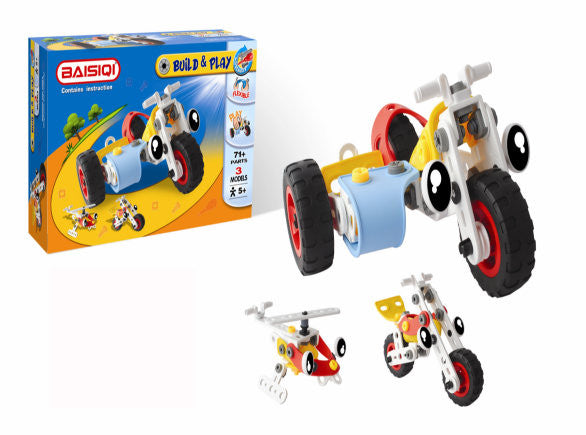 Build it yourself trike, motorbike & helicopter gift for boys with screwdriver and screws